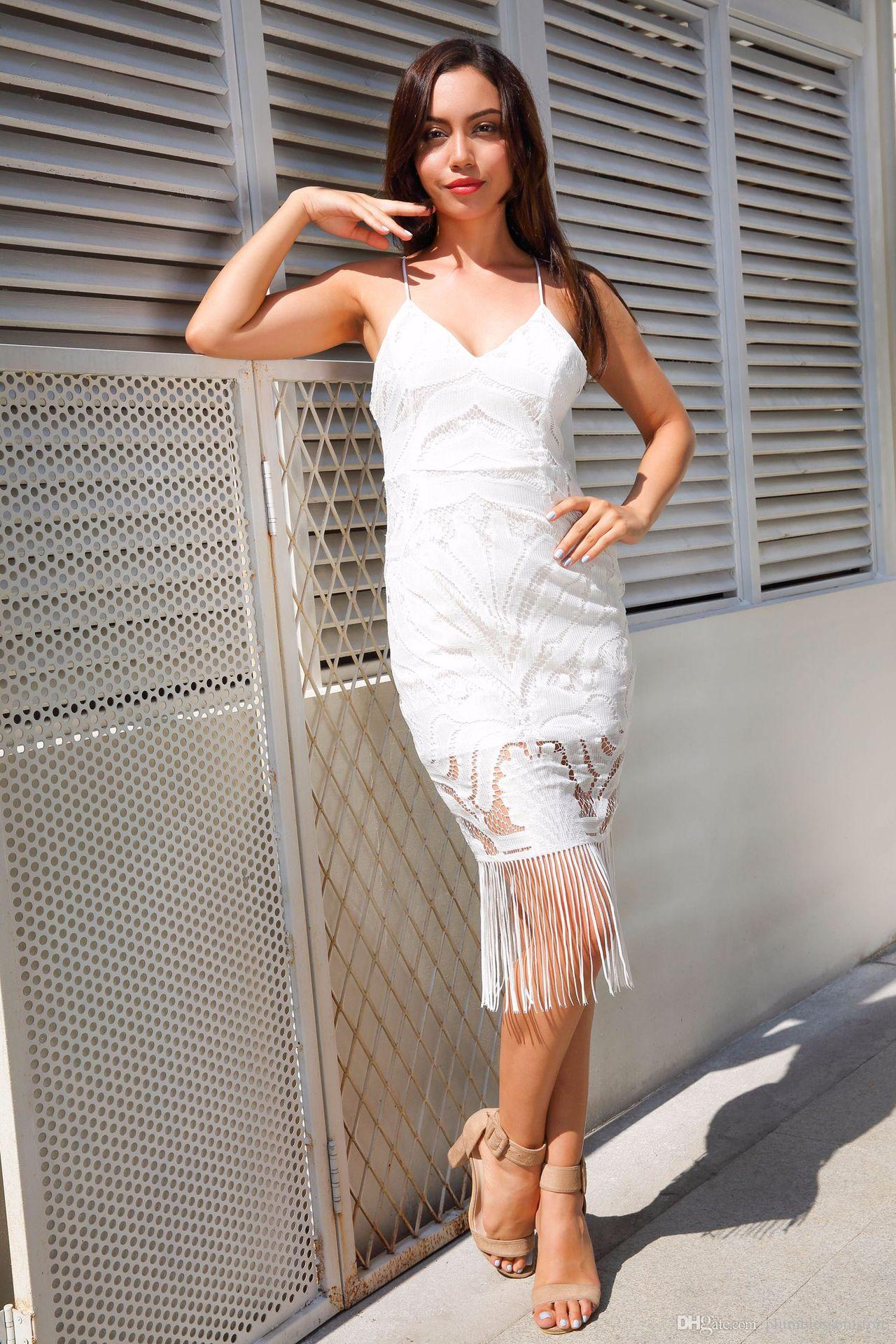 Backless V Neck Summer Dress Women Zipper White Lace Crochet Bodycon