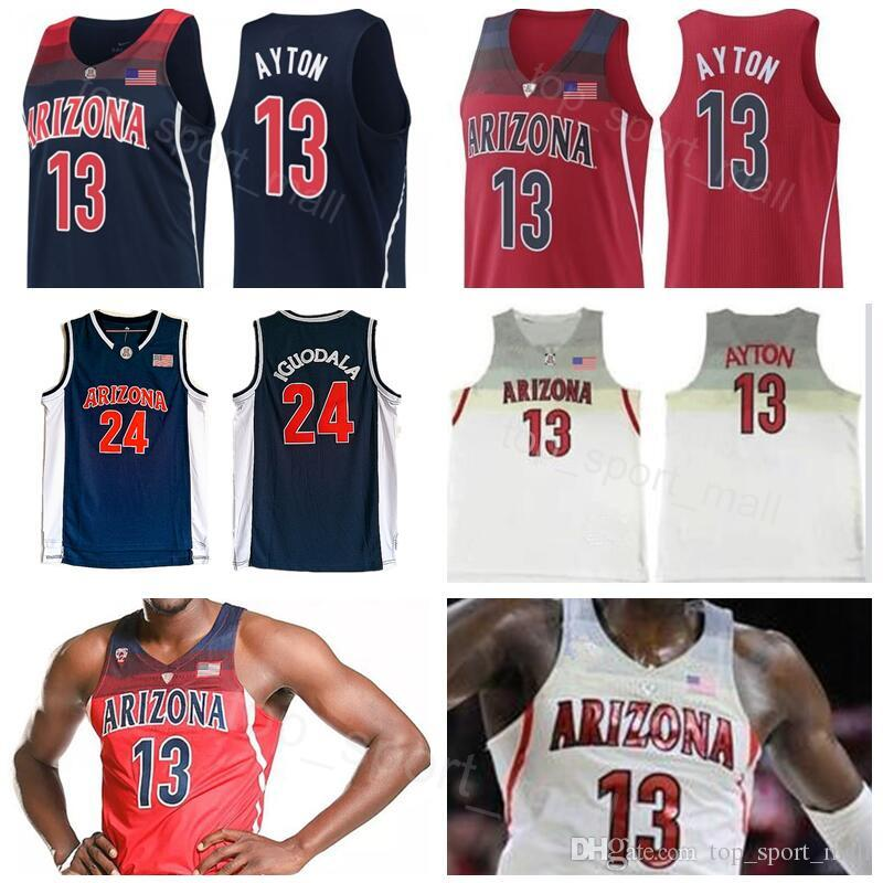 NCAA Arizona Wildcats 13 Deandre Ayton Jersey Navy Blue Red White College  Basketball 24 Andre Iguodala University Stitched Man Size S to XXL Deandre  Ayton ... dfb05d30ce68