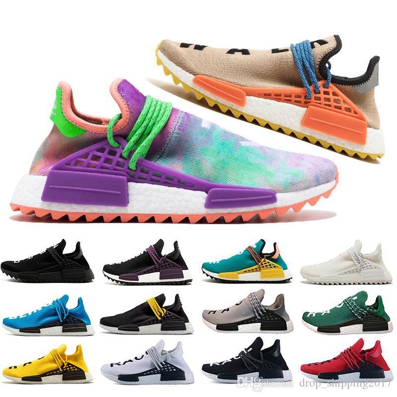 HUMAN RACE chaussures Pharrell williams Holi Pale nude Rouge Jaune Crème hommes femmes baskets de sport Pas cher mode athlétique running chaussures