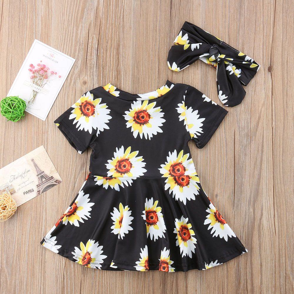 e908e242d3 2019 Infant Sunflower New Dress Clothes Short Toddler Baby Summer 0 ...