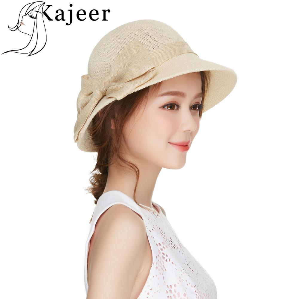 ce4f1de7913 Kajeer Beige Big Bows Hat Casual Summer Women Sunhat Cotton Weave Bowknot Visor  Sun Protection Sun Hats For Womens Headwear Snapback Hats Straw Hat From ...