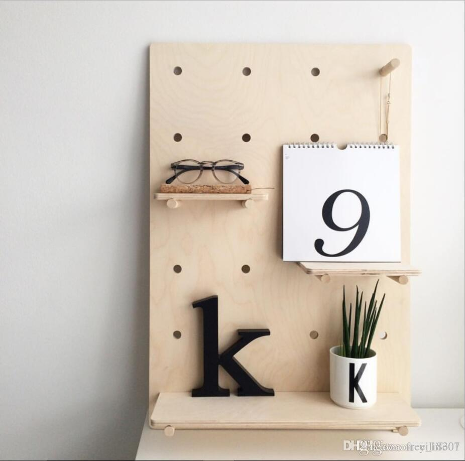 2019 Wholesale Wooden Pegboard Kit Panel With Bottom Shelf