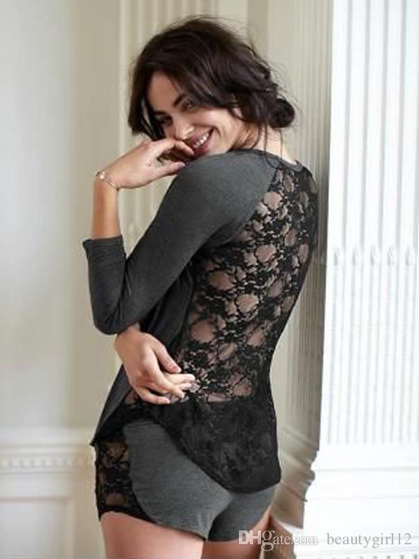 Sexy Women's Home Suit Cotton Long Sleeve Lace Patchwork Sleepwear Back Perspective Nightwear Pajamas Set Loungewear