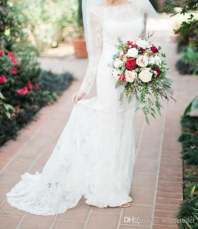 2019 lange Hülsenspitze Hochzeitskleid Nixe elegant bateau Hals bescheiden rückenfrei Land Hochzeitskleider plus Größe Brautkleid