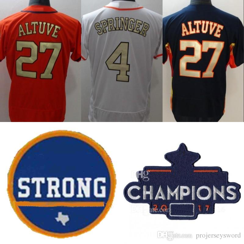 buy popular 27f31 66045 #27 Jose Altuve Jersey Houston WS Champions Strong 2018 Gold Program 1  Carlos Correa 4 George Springer 35 Justin Verlander 60 Dallas Keuchel
