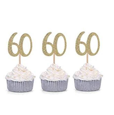 Golden Number 60 Cupcake Toppers 60th Birthday Celebration Party Decors Cake Decorating Supplies Cheap 100pcs