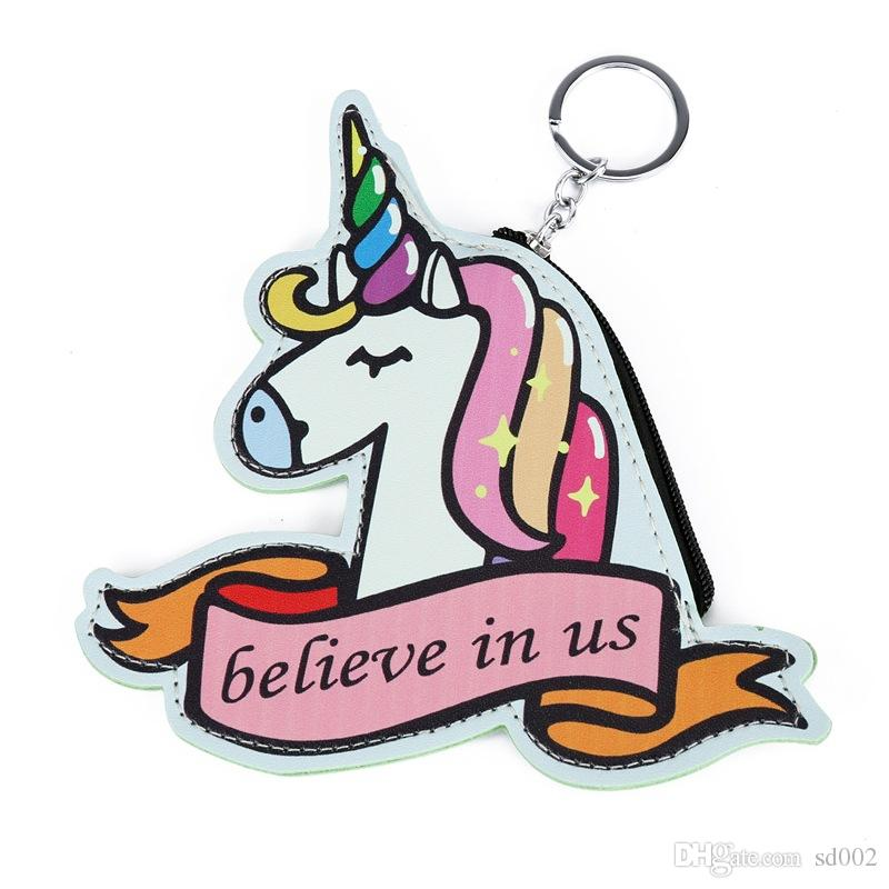 Cartone animato Unicorno Simpatico portamonete Studenti ricevono portachiavi Comodo bambino Portafoglio piccolo Stile unico Originalità 4 8smc X
