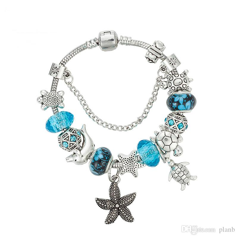 925 Silver Starfish Pendant BRACELET Charms Blue Purple Engagement Beads Bracelets High Quality Fashion Party Jewelry for Women