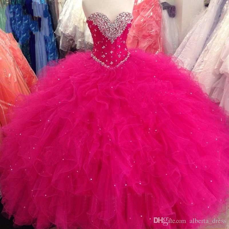 Perlen Prinzessin Ballkleid Rot Lila Quinceanera Kleider Sweet 16 Kleider Perlen Pailletten Lace Up Kleider Rüschen Plus Size Vestidos De 15