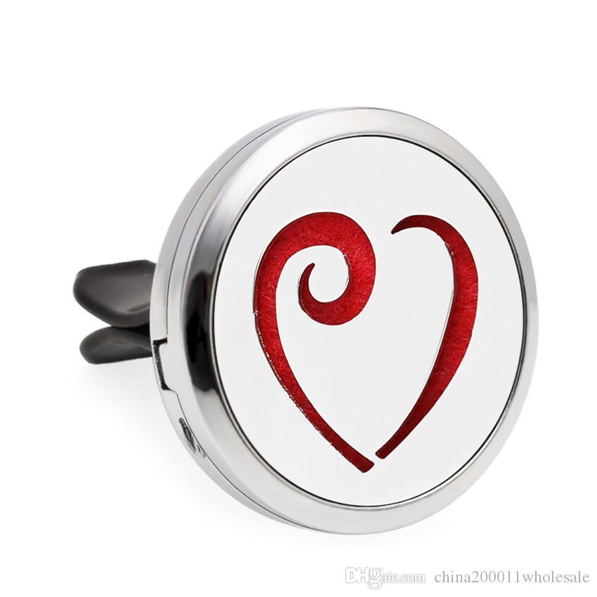 Çiçek Ağacı Şerit Kalp 30mm Manyetik Uçucu Yağ Aromaterapi Araba Difüzör Madalyon Parfüm Locket Havalandırma Klip 10 adet Pedleri