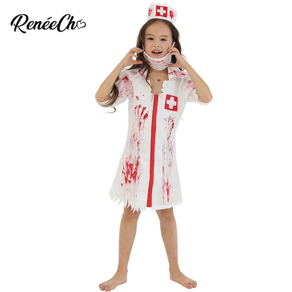 97970676611 2018 Halloween Costume For Kids Child Scary Cosplay Girls Bloody Nurse  Costume Zombie Children Dress Headpiece Mask Set