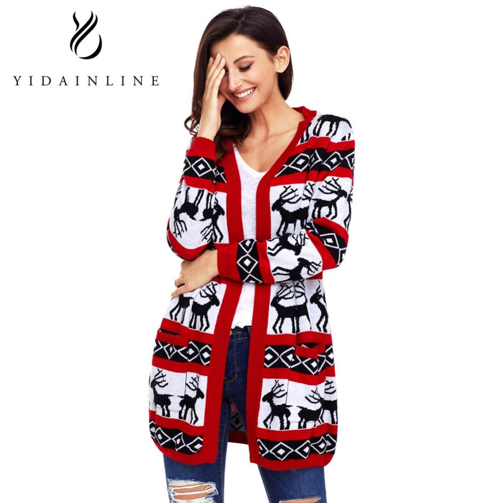 Cardigan Women Long Sleeve Casual Christmas Reindeer Striped Knitted Christmas Sweaters Cardigan Harajuku Winter Sweater Women