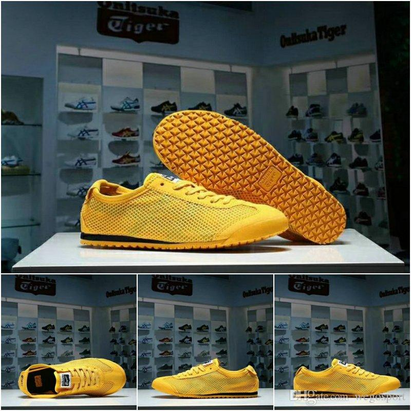 reputable site fce91 17efa Asics MEXICO66 Originals Onitsuka Tiger Weaving Net surface Running Shoes  Bruce Lee Yellow New Color Lightweight Sports Sneakers