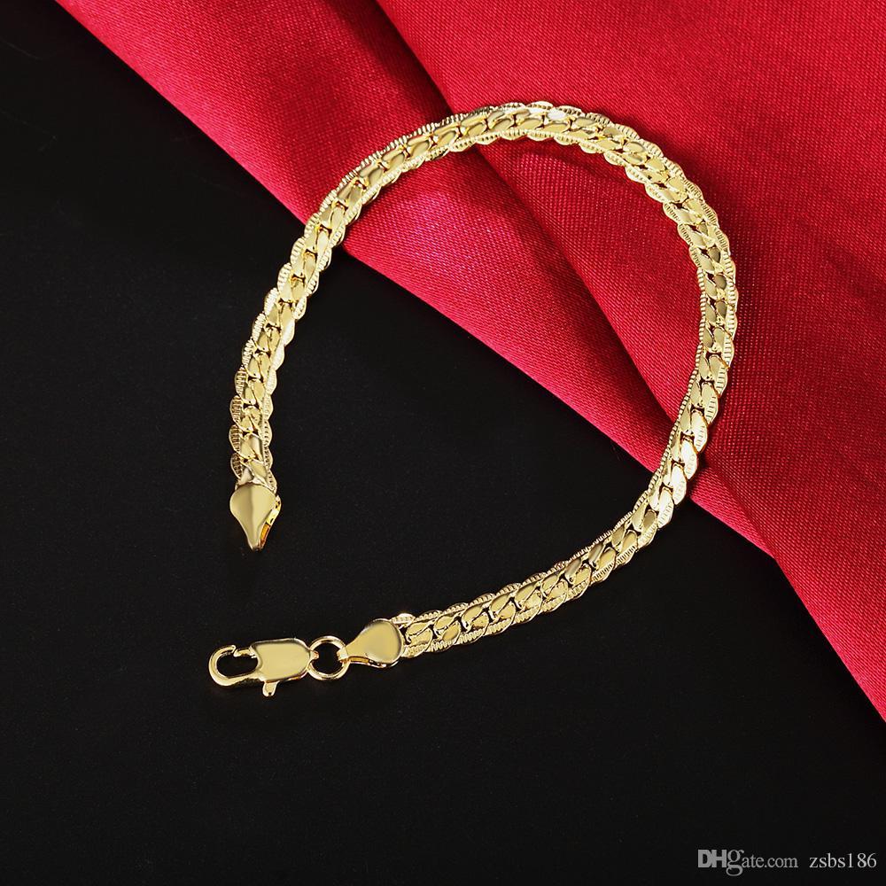 Оптовая низкая цена 18K позолоченные 5 мм змея цепи браслет браслеты длина 20 см мода прохладный мужские ювелирные изделия высокое качество Бесплатная доставка