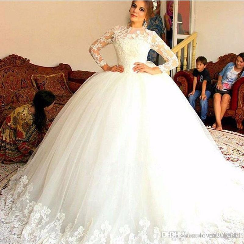 2019 Vintage Lace Applique Ball Gowns Wedding Dresses With Long Sleeve Sweep Train Jewel Neck Overskirts Bridal Dress Puffy Vestido De Novia Bargain Wedding Dresses Cheap Wedding Dresses From China From Crown2014