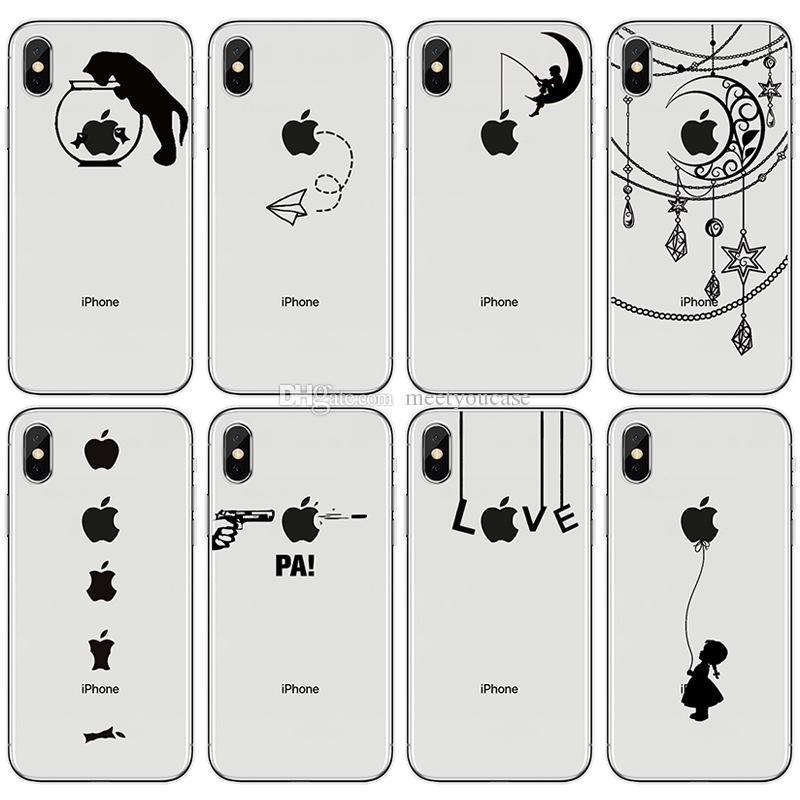 2885c2d24e60 Phone case For iPhone 5 5S 6 6S 7 8 Plus X creative Pattern for iPhone logo  black print Soft TPU silicone back Cover Coque Fundas+protector