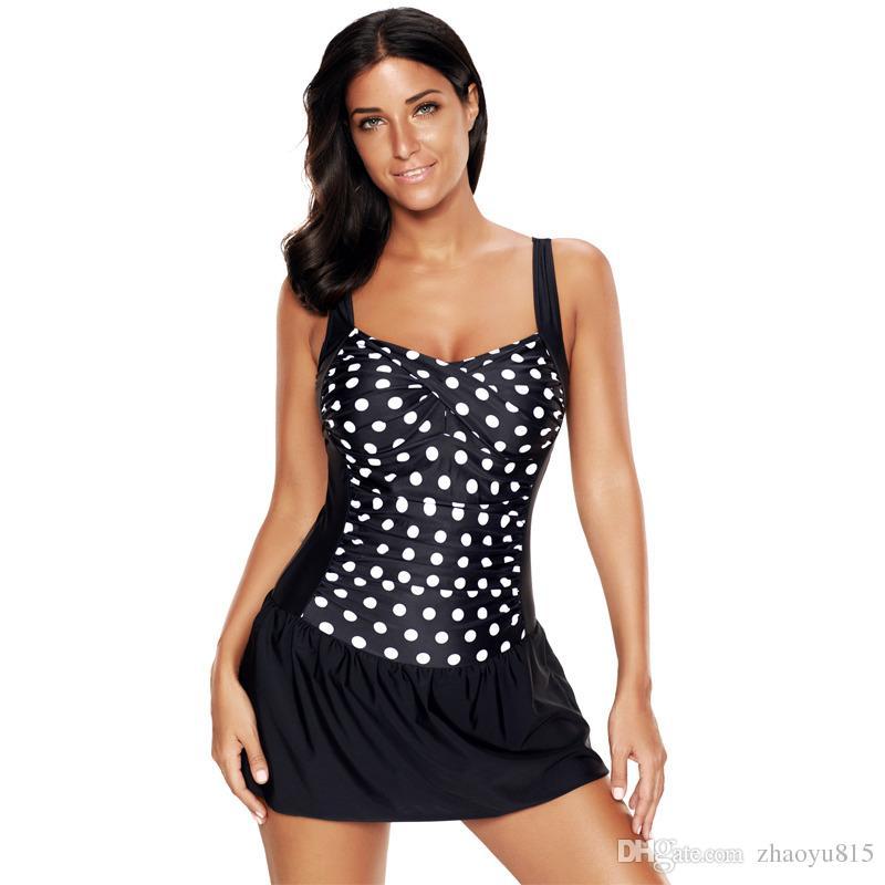 3e2496af7e 2019 XL 6XL Plus Size Polka Dot Swim Dress Retro Fashion Bodysuit Slimming  Mesh One Piece Plus Size Bathing Suit Female Bikini Swimwear Swimsuit From  ...