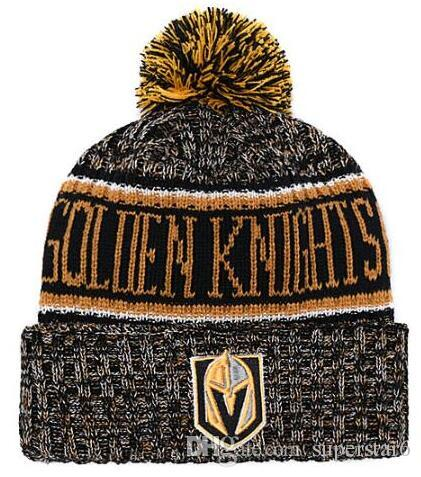 fdda96ba084 Top Selling Vegas Golden Knights Beanie Beanies Sideline Cold Weather  Reverse Sport Cuffed Knit Hat With Pom Winer Skull Caps Stetson Hats Trilby  From ...