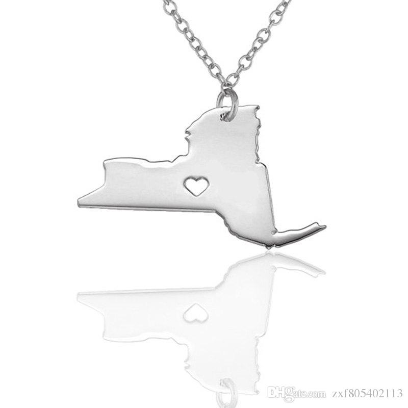 wholesale 10pcs/lot New York State necklace with a heart map pendant necklace State Shaped necklace for women men Jewelry gift