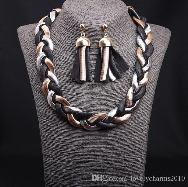 Exaggerated Metal Handmade Woven Eearring Necklace Set Short Clavicle Woman Bid Statement Necklace Fashion Korean Accessories