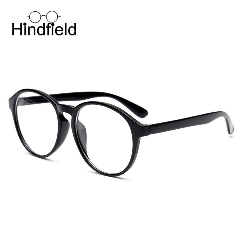 fdf25995c3 2019 Hindfield Fashion Prescription Glasses Frame Women Men Vintage Big  Black Round Frame Flat Mirror Decoration Eyeglasses Gafas From Huazu