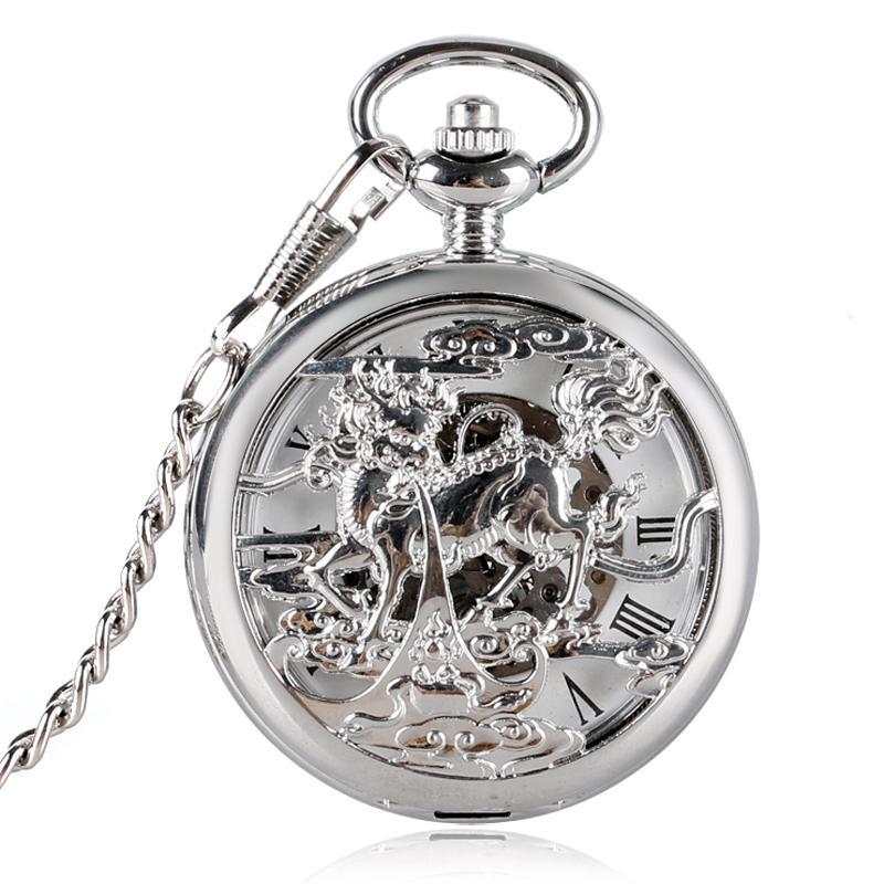 a221d2e78a0 Compre Bronze De Luxo Automático Auto Vento De Cobre Oco Kylin Design Fob  Das Mulheres Dos Homens Relógio De Bolso Mecânico Legal Masculino Relógio  Vintage ...