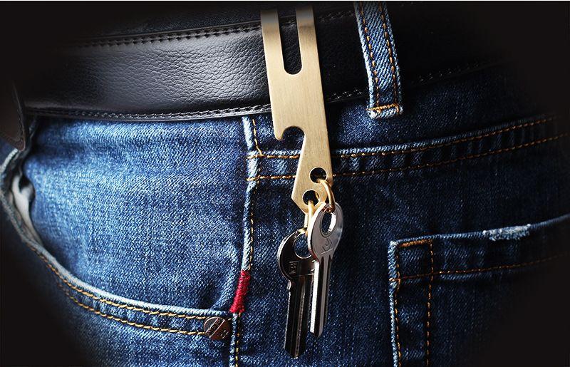 Çok fonksiyonlu metal şişe açacağı 3 1 bel klip anahtar toka para klip açacağı triad gadgets Açık küçük EDC aracı