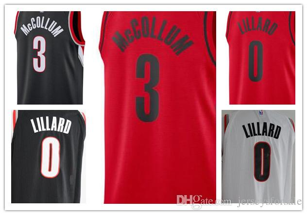 2018 2017 2018 NEW Portland Mens Trail Blazers Jerseys 3 CJ McCollum 0  Damian Lillard Black White Red Basketball Jersey From Jerseysus1 be2645460