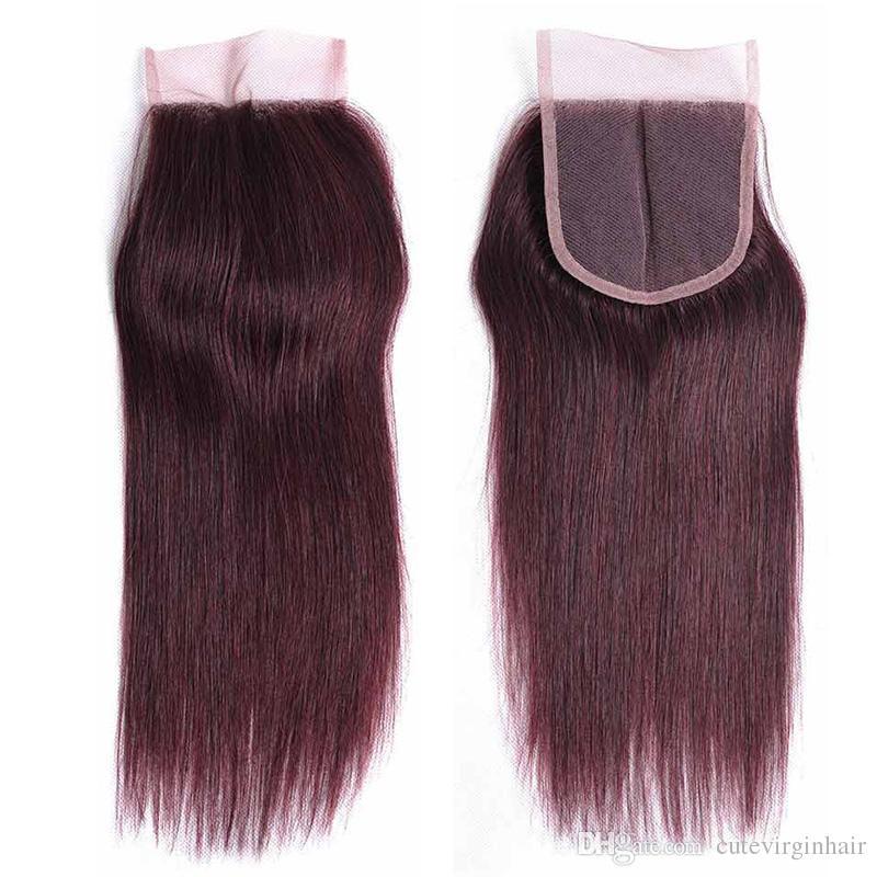 Saf Renkli Saç Dantel Kapatma Satıcıları Brezilyalı İnsan Saç 4x4 Dantel Kapatma Renk 27 30 33 99J Bal Sarışın Orta Kumral Koyu kırmızı