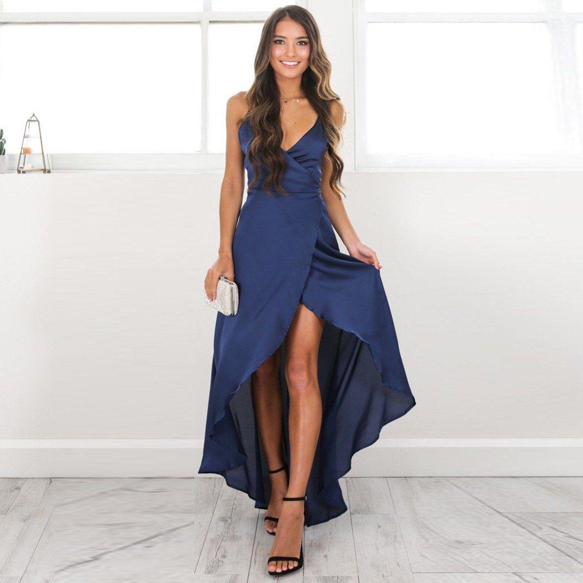 041756be5fc4 2019 Women Sexy Long Dress High Split Deep V Neck Strappy Vestidos Party  Maxi Boho Long Dress Beachwear Summer Split Sundress From Silan