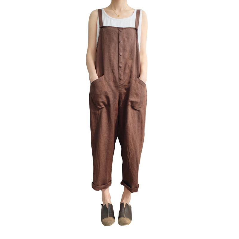 efd6ffd0c744 2019 Women Casual Cotton Loose Linen New Pants Button Romper Holiday  Buttons Clothing Cotton Jumpsuit Strap Harem Trousers Overalls From Stripe