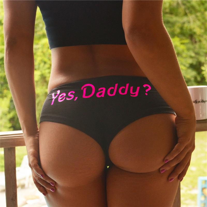 Sexy Cotton Women Funny Lingerie G-string Briefs Underwear T string Letter Print Thongs Knickers Panties