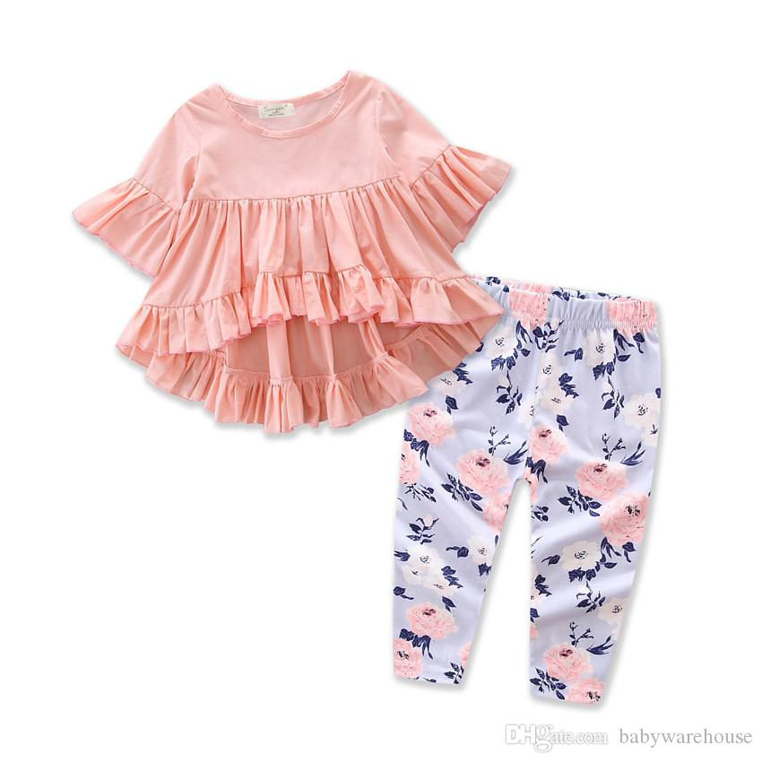 Baby Girl Clothes Set Autumn Spring Infant Toddler Clothing Kids Ruffles T-shirt Tops + Floral Long Pants 2PCS Set Summer Baby Girls Outfits