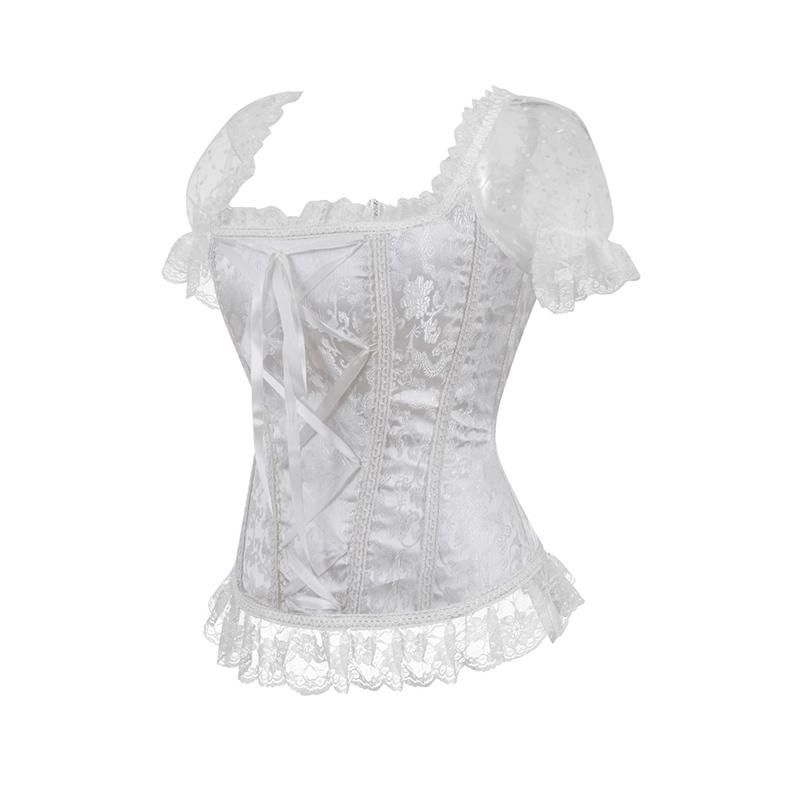 a12d6d66603 2019 Lace Up Zipper Short Sleeves Bridal Sexy KorseFor Women White Gothic  Corset Victorian Corsets And Bustiers Wedding Corsage From Sweatcloth