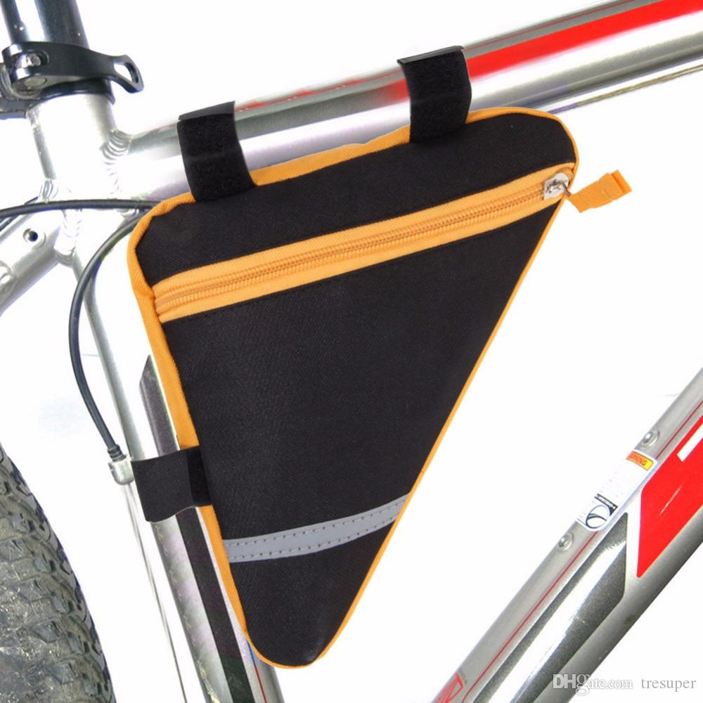 Upgrade Borsa da 1,5L Outdoor Cycling Triangle Bicycle Front Tube con borsa catarifrangente da mountain bike