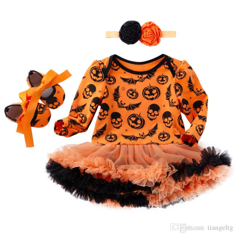 9f3e0390d 2019 Baby Romper Dress Shoes Headband Suit Girls Halloween Jumpsuit Pumpkin  Romper TUTU Skirt Witch Skull Printing Summer Outfits 0 24M From Tiangeltg,  ...