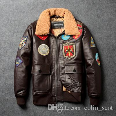 88a23d03587 2019 Fly Fur Collar Genuine Leather Jacket Men Brown Thick Sheepskin Flight  Jacket Black Men S Winter Leather Coat Pilot Suit From Colin scot