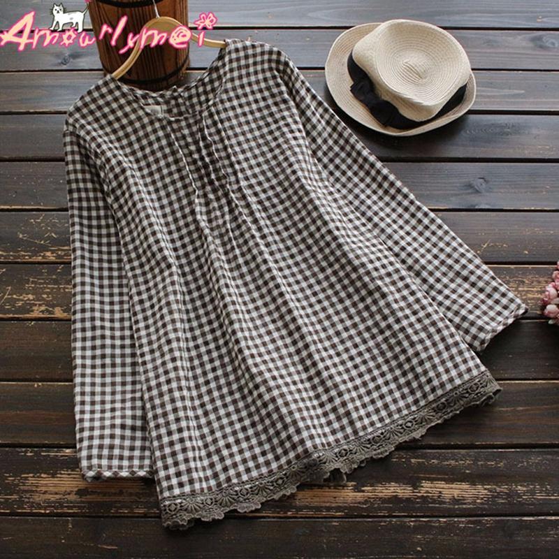 46749c41fc76a6 Amourlymei Vintage Lace Patchwork O-neck Long Sleeve Cotton Casual Plaid  Blouse Mori Girl 2018 Spring Women Shirt Tops Female Women Shirts Shirt Top  Womens ...