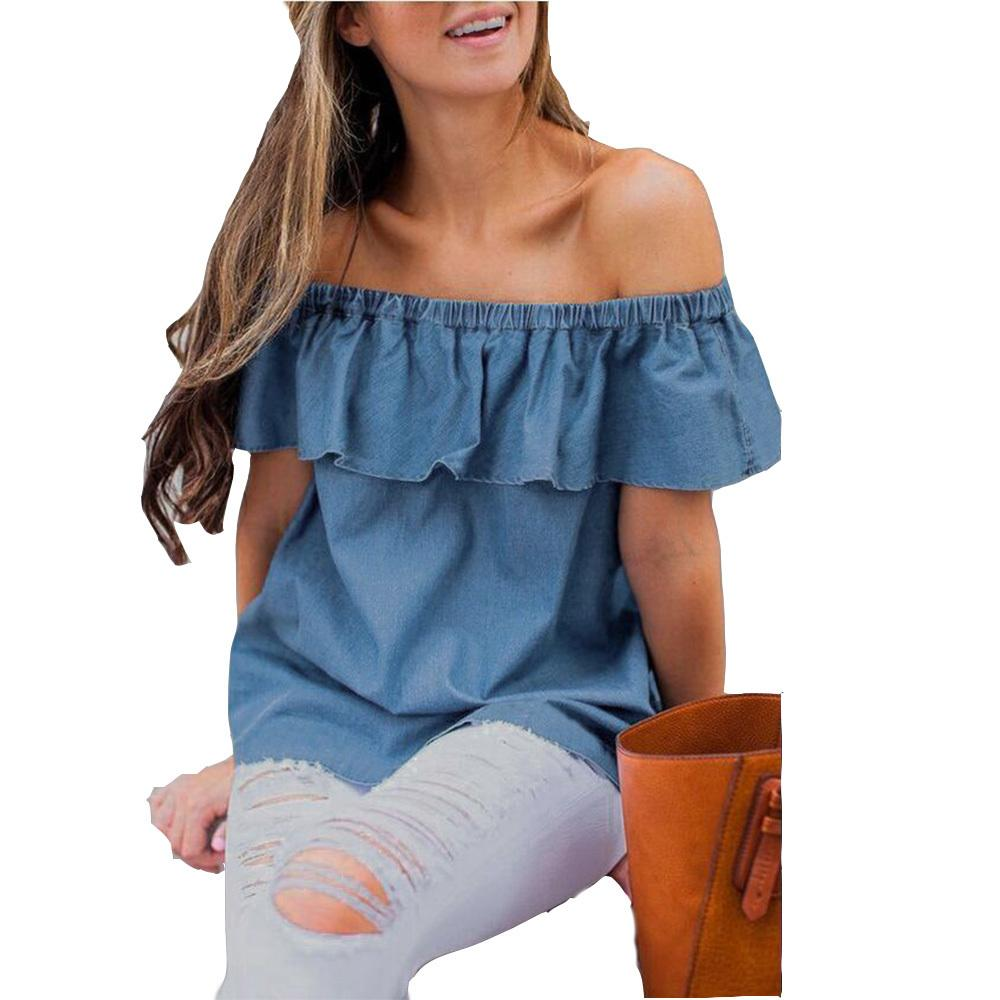 dd2a04dd5d1aa Loneyshow Women Vintage Off Shoulder Tops Casual Solid Party Shirt ...