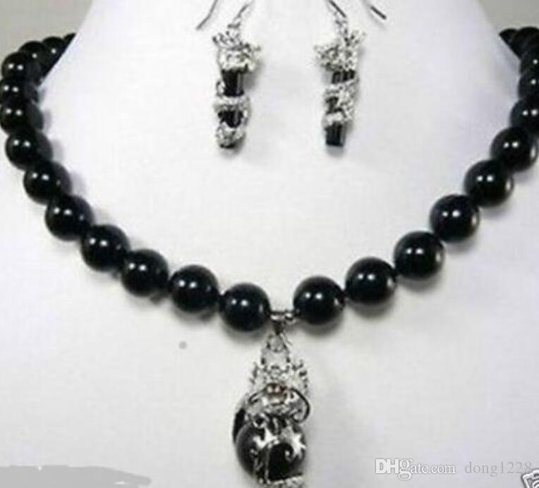 ebc9a2e61dda Compre Moda Hermosa 10 Mm Negro Dragón Natural Pendiente Colgante Collar  Conjunto NUEVO Joyería De Novia Envío Gratis A  13.05 Del Dong1228