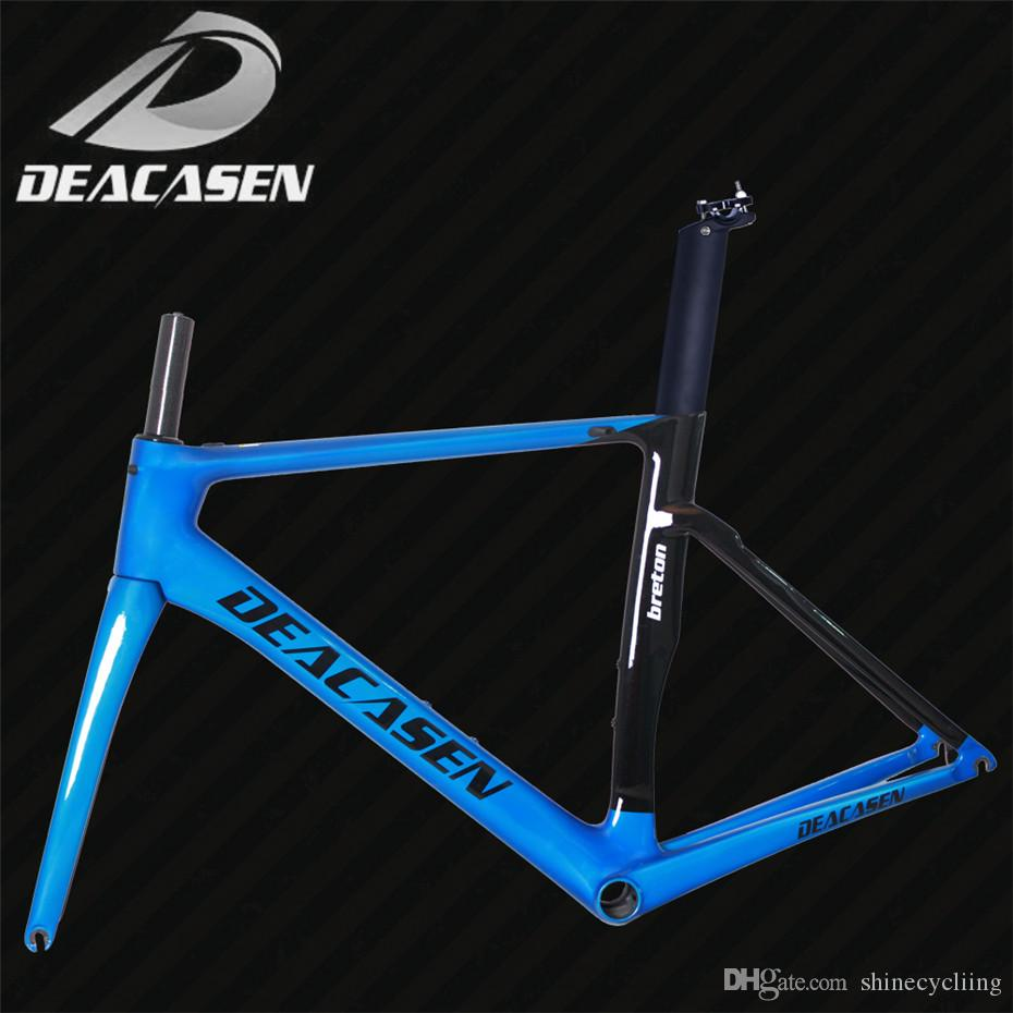 "Carbon Bicycle Frame Headset 1-1/8"" to 1-1/4"" Bicycle Cycling Frame glossy 2018 DEACASEN carbon fiber road frame BB86 road"