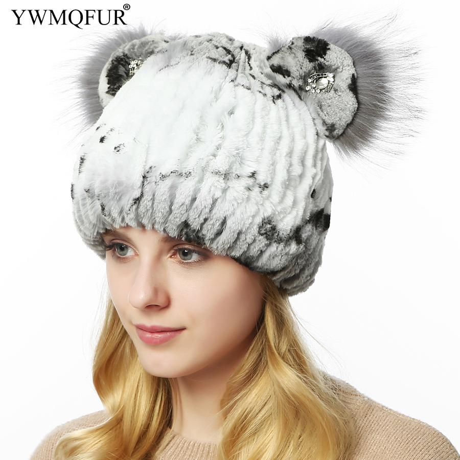 Winter Women Fur Hats Thick Skullies Beanies Cat Hat Real Rex Rabbit Fur  Casual Ladies Cute Girl Caps 2018 New Arrival YWMQFUR Sun Hat Hats For Men  From ... 3307afb4d13