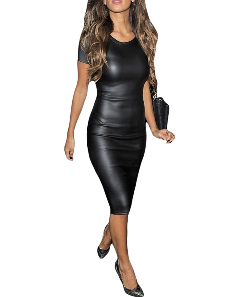 771e950b8f2 Acheter Sexy Femmes Slim Fit Dress Similicuir Simili Cuir À Manches Courtes  Midi Crayon Dress Col Rond Moulante Robe De Soirée Noir Vestidos 2018 De   30.22 ...