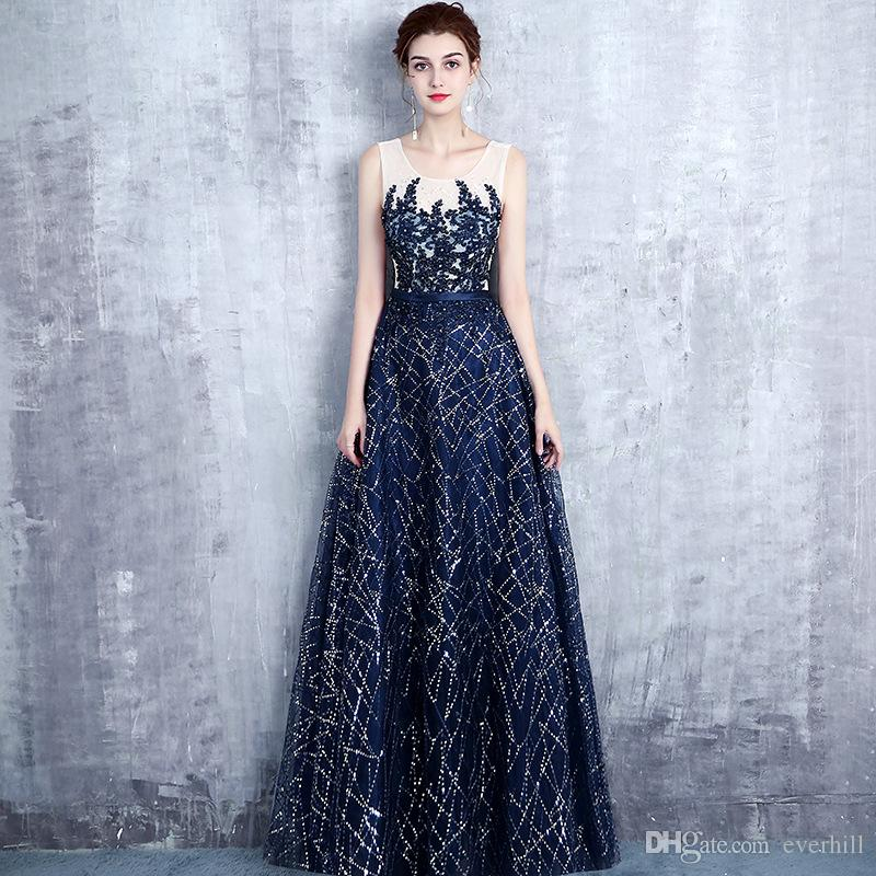 cd440150e26 2018 Elegant Shiny Sequined Floor Length Prom Dress Beaded Long Dress For  Prom Evening Party Navy Blue Lace Appliques Formal Gowns A Line Junior Prom  ...