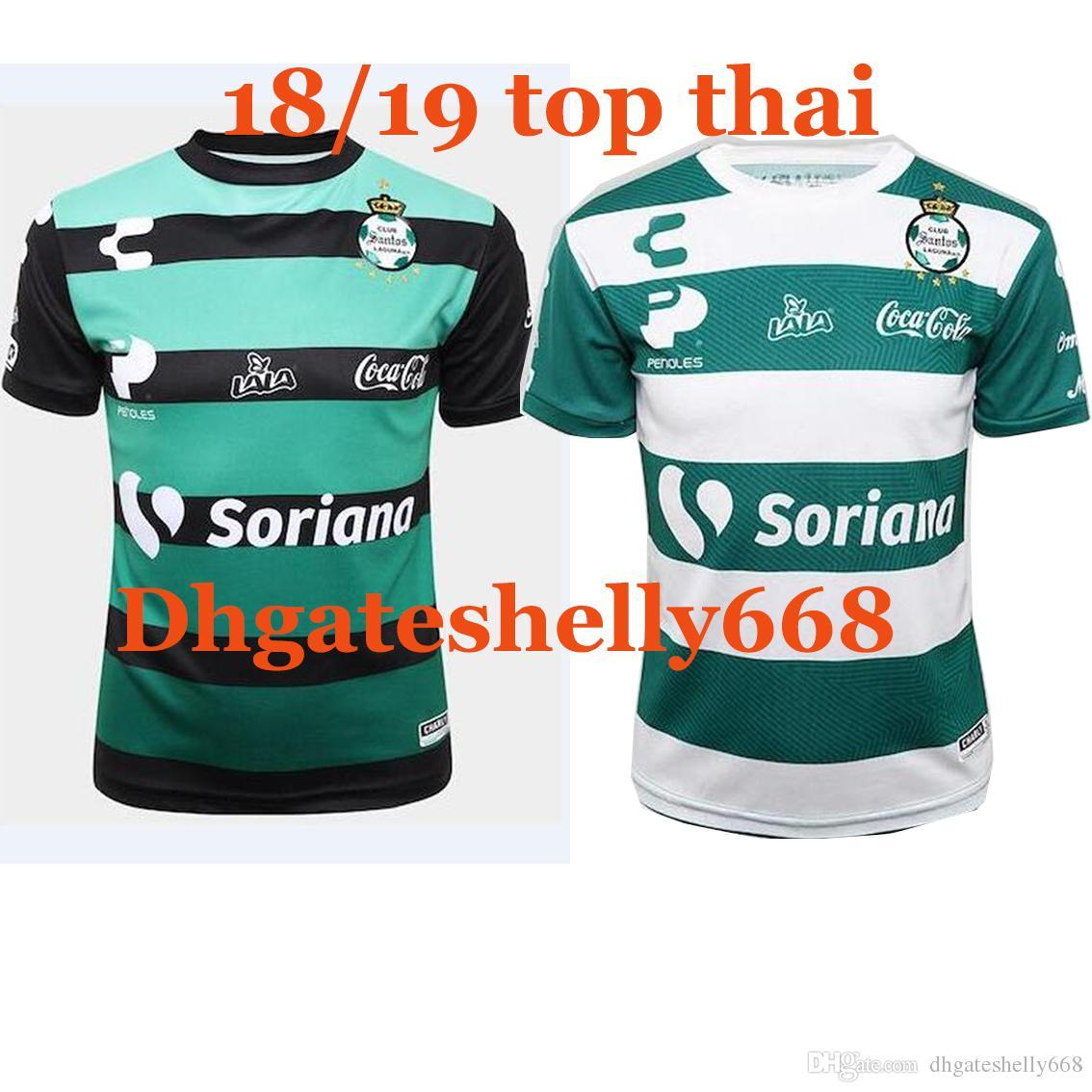 2019 18 19 Top Thailand Quality ACSantos Laguna Home White Away Green  Soccer Jersey 7d11518017d46