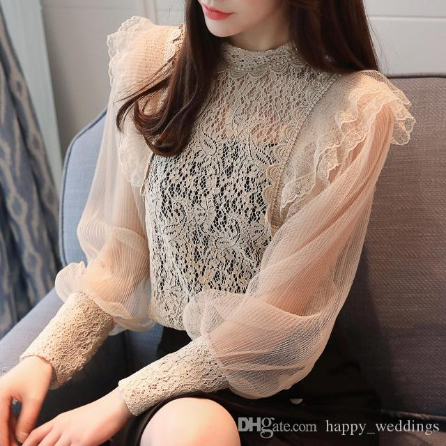 74b38e893431 2019 2018 Sexy Romantic Long Sleeve Lace Blouses Women Lantern Sleeve Stand  Collar Hollow Out Lace Shirts Women Transparent Lace Tops From  Happy weddings