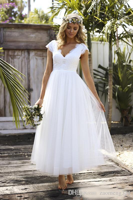 compre 2018 elegante estilo rural vestidos de novia longitud del