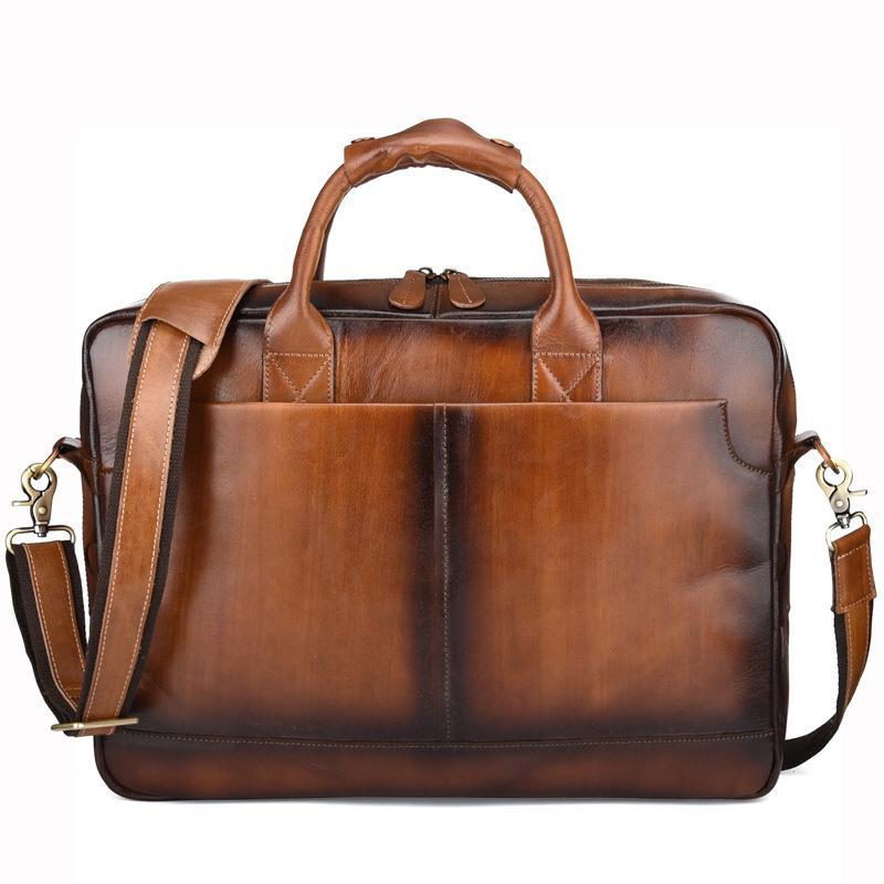 Men Brush Leather Handbag 15 Inch Laptop Briefcase Vintage Handmade Genuine  Leather Crossbody Bag For Man Shoulder Bag 9557 Crossbody Bags Satchel From  ... d4cb9662c9