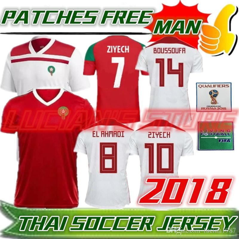 a5ed3767a1a 2019 2018 World Cup Morocco Football Jersey ZIYECH BOUTAIB BOUSSOUFA EL  AHMADI BENATIA Blank Custom Home Road Third Red White Green Soccer Shirt  From ...