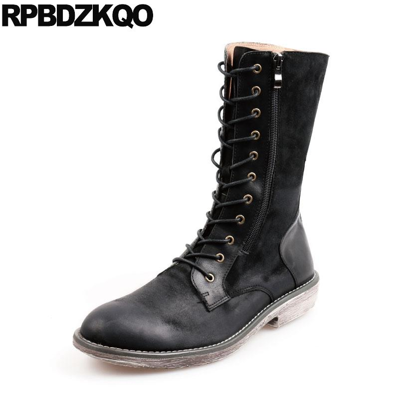 dfab93eca92 Army Korean Designer Mid Calf Retro Combat Boots Black Fashion Luxury Men  Full Grain Leather Shoes Lace Up Chunky Tall